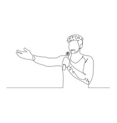 continuous one line man with a microphone in his vector image