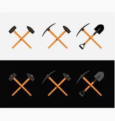 Crossed hammer and shovel vector