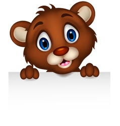 cute baby brown bear cartoon posing with blank sig vector image vector image