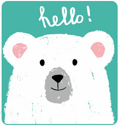 Cute card with lovely white bear vector