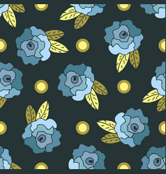 cute seamless pattern with blue hand drawn roses vector image