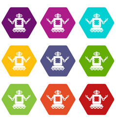 Cyborg on wheels icon set color hexahedron vector