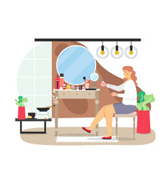 Daily life morning routine young woman doing vector