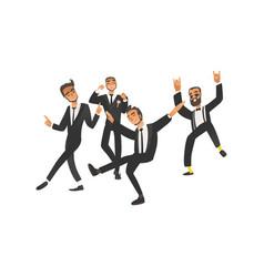 dansing and happy groom and groomsman on wedding vector image