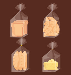 delicious bread bags and cheese vector image