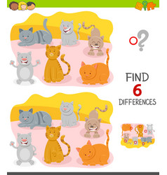 Differences game with cartoon cat characters vector