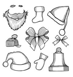 doodle hats Santa Claus vector image