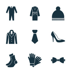 Dress icons set with suit woman shoe necktie and vector