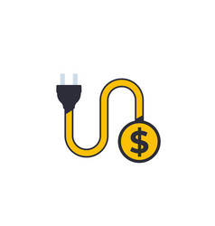 Electricity costs icon vector