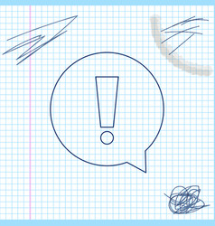 exclamation mark in circle line sketch icon vector image