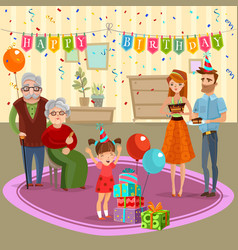 Family birthday home celebration cartoon vector