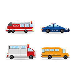 Fire truck police ambulance and bus set icon vector