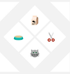 flat icon pets set of feeding fish nutrient vector image