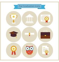 Flat School Graduation and Success Icons Set vector
