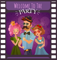 frame photographic film with party invitation vector image