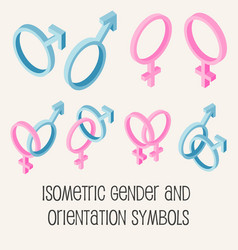 gender and sexual orientation isometric icons set vector image