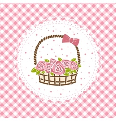 gift basket with roses vector image