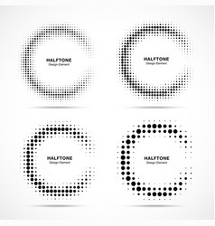 Halftone incomplete circle frame dots set vector