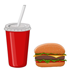 hamburger and a drink in a red disposable cup vector image