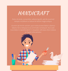 Handicraft banner with man making origami swan vector