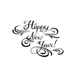 Happy new year calligraphic hand lettering vector