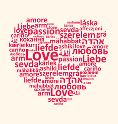 Heart and love in different languages vector