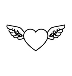 heart wings love decoration symbol line vector image