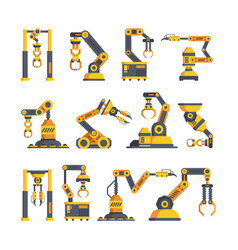 high tech robotic arms flat vector image