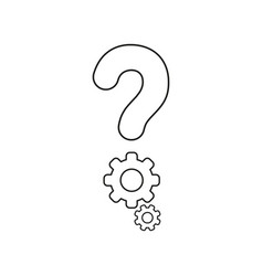 icon concept of question mark with gears black vector image