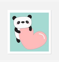 kawaii panda babearwhite frame cute cartoon vector image