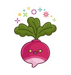 kawaii smiling radish cartoon vector image