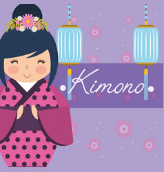 Kokeshi japanese national doll in a dotted kimono vector