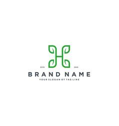 Leaf letter h logo design vector