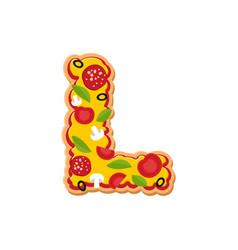 Letter l pizza font italian meal alphabet vector