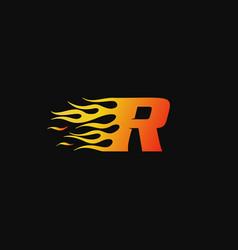 letter r burning flame logo design template vector image