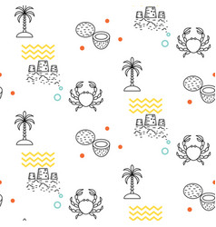 Line icon beach seamless pattern vector
