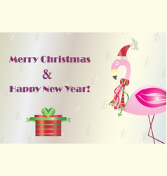 Merry christmas card with flamingo vector