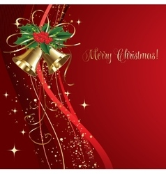 Merry Christmas card with gold bells vector image