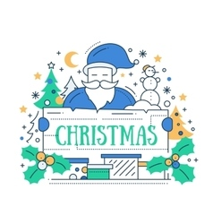 Merry Christmas - line design card vector image