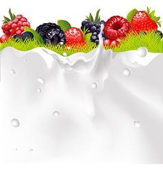 Milk splash background fruit berries and green vector