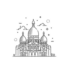 Minimalistic line-art landmark icon of the sacre vector