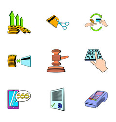 money transaction icons set cartoon style vector image