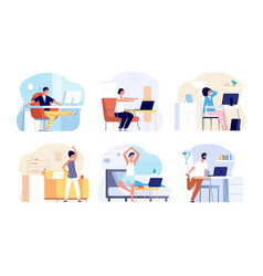 Office syndrome stretching exercise neck back vector