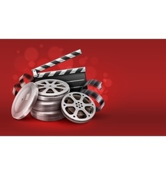 Online cinema with movie tape vector image