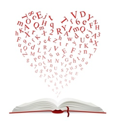 Open book with heart of letters vector