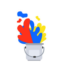 Paint bucket with primary color art design vector