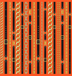 pattern with belts and chain vector image