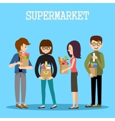 People in a supermarket with purchases vector