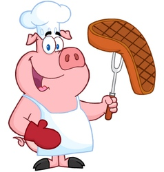 Pig Chef Holding A Fork With Roasted Steak vector