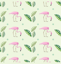 Pink flamingos and palm leaves on abstract vector